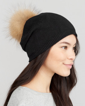 The Lyric Black Slouchy Beanie Hat with Finn Raccoon Pom Pom