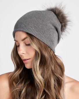 The Lyric Charcoal Slouchy Beanie with Finn Raccoon Pom Pom