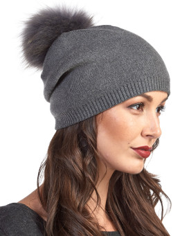 The Lyric Charcoal Slouchy Beanie Hat with Finn Raccoon Pom Pom