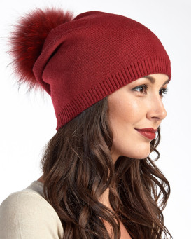 The Lyric Red Slouchy Beanie Hat with Finn Raccoon Pom Pom