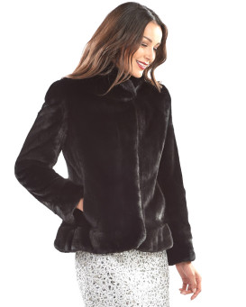 The Lyudmila Shawl Collar BLACKGLAMA Mink Fur Jacket