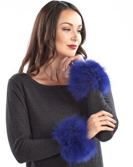 The Maci Knit Fox Fur Cuffs in Royal Blue