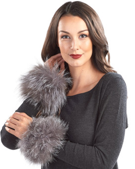 The Maci Knit Fox Fur Cuffs in Silver