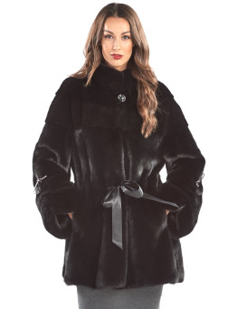 The Magnolia Black Mink Ribbon Coat