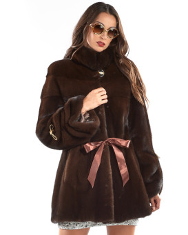 The Magnolia Mahogany Mink Ribbon Coat