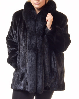 The Plus Size Caitlin Black Mink Coat with Fox Tuxedo Collar