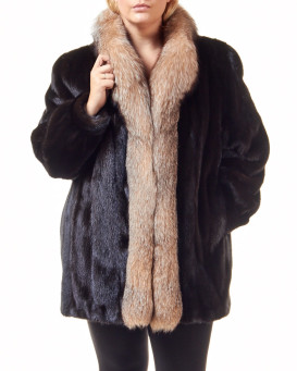 The Plus Size Caitlin Mahogany Mink Coat with Fox Tuxedo Collar