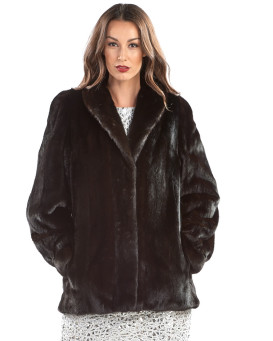 The Seraphina Shawl Collar BLACKGLAMA Mink Fur Coat
