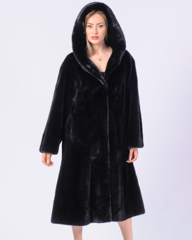 The Tempest BLACKGLAMA Mink Fur Coat with Hood