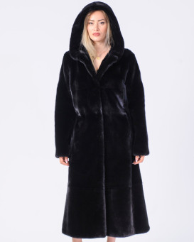 The Tilda BLACKGLAMA Mink Fur Coat with Hood