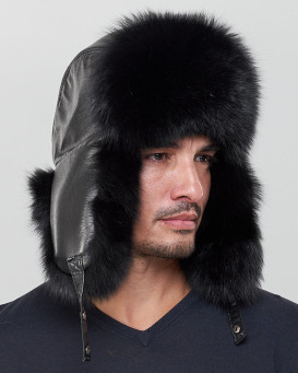 The Whistler Black Fox Fur Leather Trapper Hat for Men