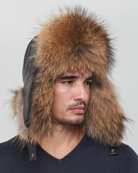 The Whistler Finn Raccoon Fur Leather Trapper Hat for Men