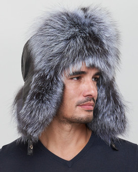 The Whistler Silver Fox Fur Leather Trapper Hat for Men