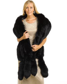 Delia Black Three Tier Fox Fur Stole with Tails