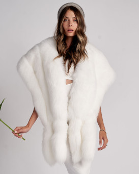 Delia White Three Tier Fox Fur Stole with Tails