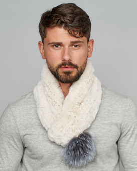 Trevor Cream Rex Rabbit Fur Pull Through Scarf with Silver Fox Pom Pom