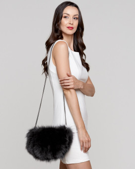 Uma Black Fox Fur Purse / Hand Muff