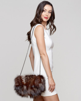 Uma Dusk Fox Fur Purse / Hand Muff