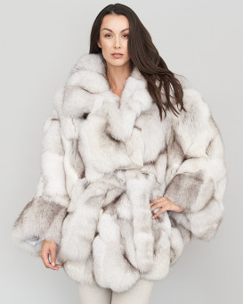 Valerie Sectioned Blue Fox Fur Poncho