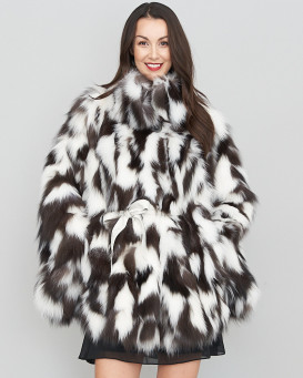 Vera Black and White Section Fox Fur Poncho