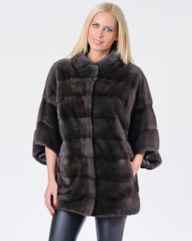 Veronica Mink Fur Coat with 3/4 Length Sleeves in Brown
