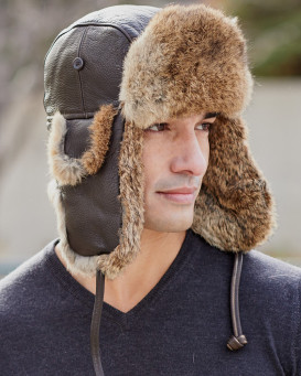 Vintage Rodeo Leather Rabbit Fur Aviator Hat