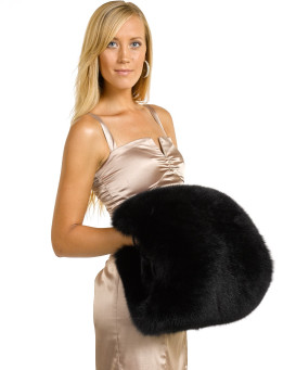 Vivika Black Fox Fur Hand Muff