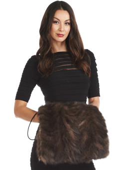 Vivika Sable Section Fur Hand Muff