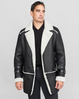 Warren Shearling Sheepskin Car Coat in Black