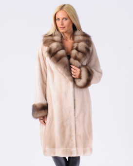 Waverly Mink Fur Coat with Marten Fur Notch Collar and Cuffs