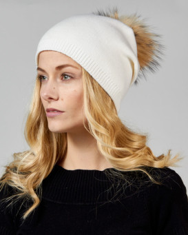 White  Beanie with Finn Raccoon Pom Pom