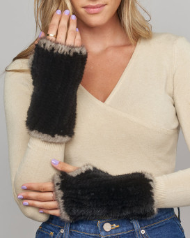 Whitley Knit Mink Fingerless Gloves In Black with Grey Trim