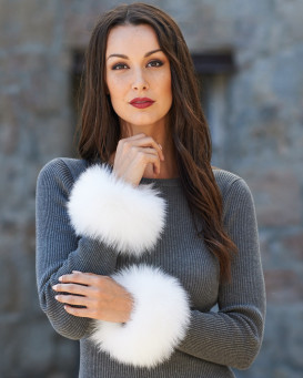 Bridget White Wide Fox Fur Slap on Cuffs