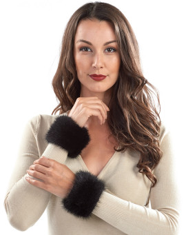 Stephie Wide Mink Slap on Cuffs in Black