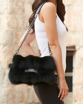 Willow Evergreen Fox Fur Handbag