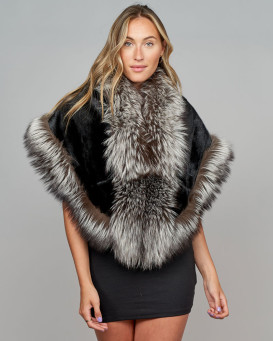 Wisdom Black Mink Stole with Silver Fox Fur Trim