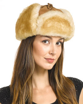 Womens Alaska Shearling Sheepskin Trapper Hat in Tan