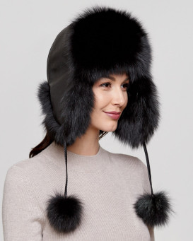 Womens Black Fox Fur Excursion Trapper Hat with Pom Pom