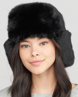 The Moscow Full Fur Rabbit Ladies Russian Hat in Black