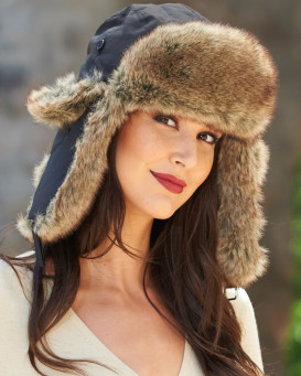 Womens Black Taslon Faux Fur Trapper Hat