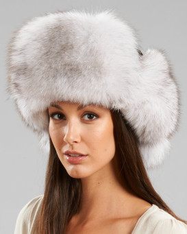 Womens Natural Blue Fox Fur & Suede Russian Hat