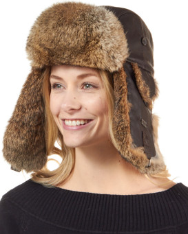 Ladies Brown Leather Rabbit Fur Trapper Hat 379bcef2a24e