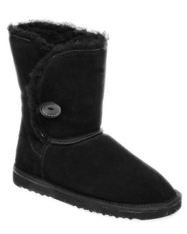 Black Shearling Sheepskin Boots with Side Button Closure