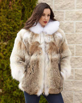 Abby Coyote Fur Parka with White Fox Trimmed Hood