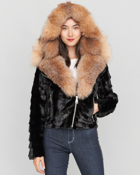 Diamond Mink Motor Jacket w/ Fox Collar & Hood in Black