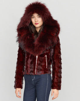 Diamond Mink Motor Jacket w/ Fox Collar & Hood in Burgundy