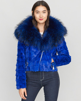 Diamond Mink Motor Jacket w/ Fox Collar & Hood in Royal Blue