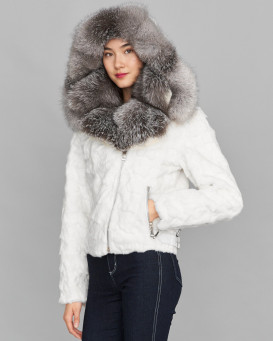 Diamond Mink Motor Jacket w/ Fox Collar & Hood in White
