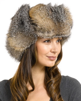 Women's Grey Fox Full Fur Russian Ushanka Hat