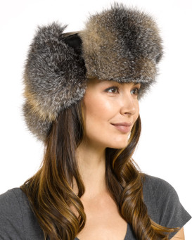 Womens Grey Fox Fur Leather Russian Hat